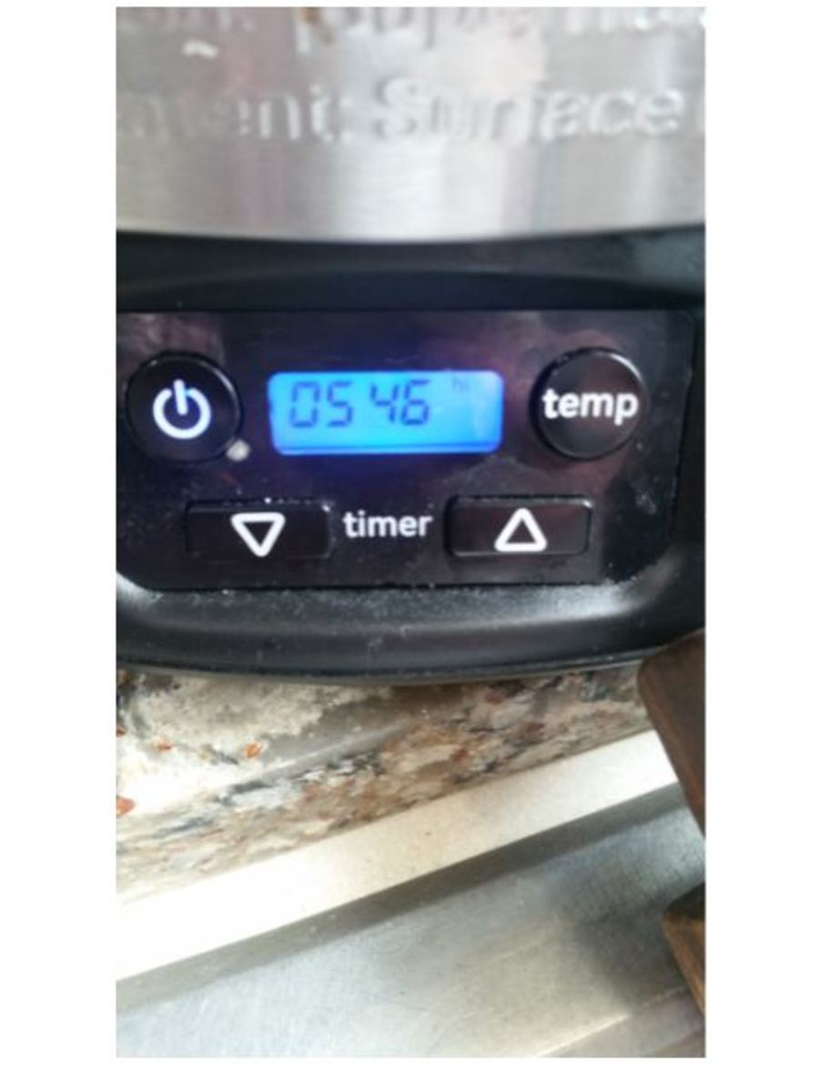set timer on slow cooker - high setting, 6 hours.[I remembered to take photo after a few minutes]