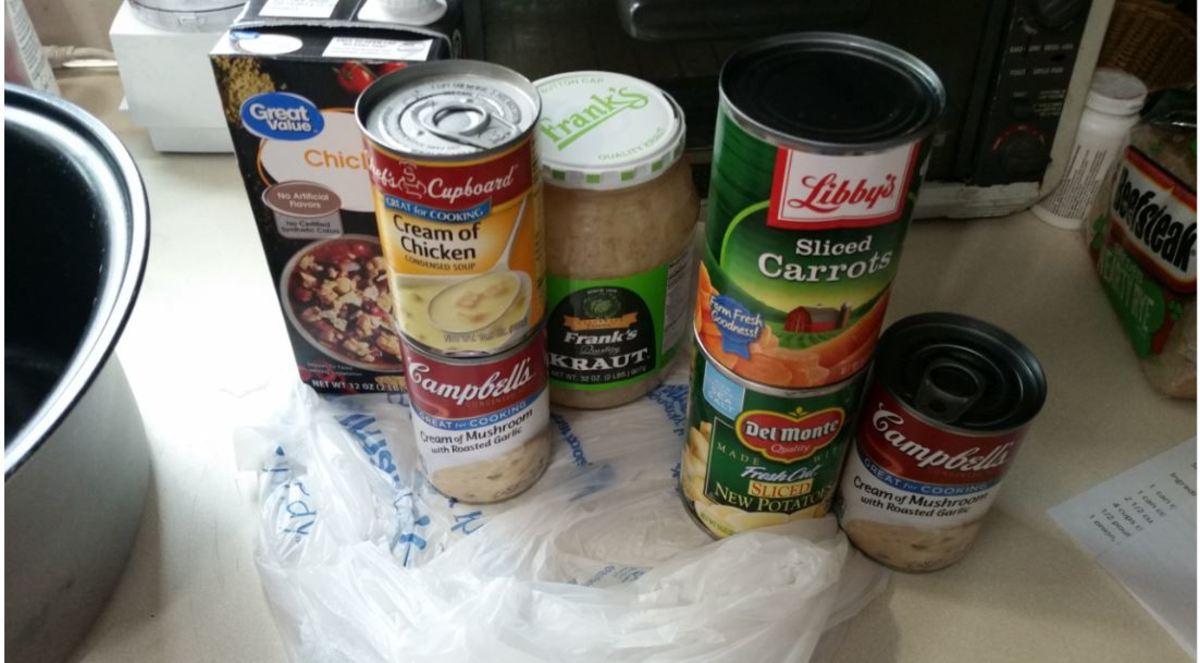 broth, cream soups, sauerkraut, carrots, potatoes