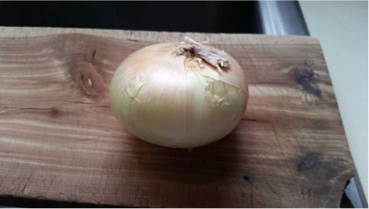 peel and slice onion and chop across rings