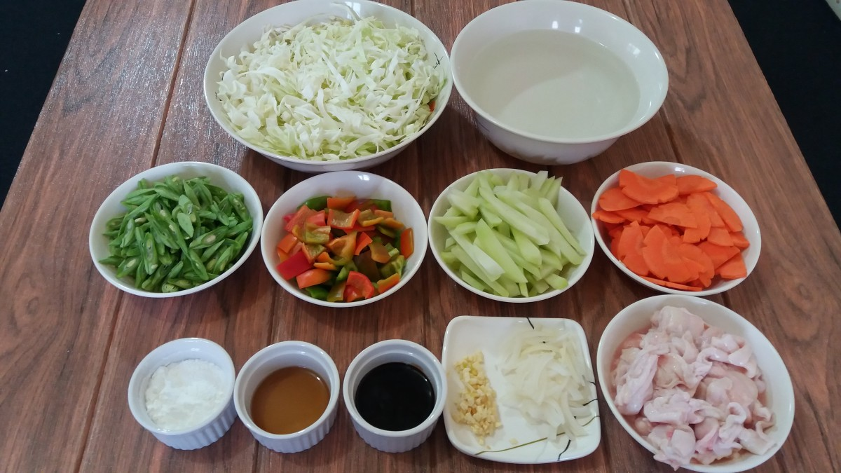 The ingredients for the chop suey.