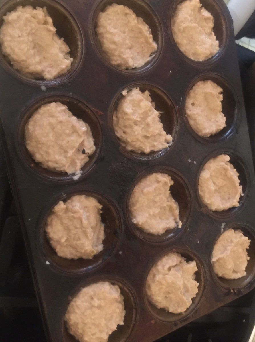 Each recipe makes approximately 15 muffins. They are large, sweet, and dense, and tend to have flat tops. You'll see more of what I mean in the next few pictures.