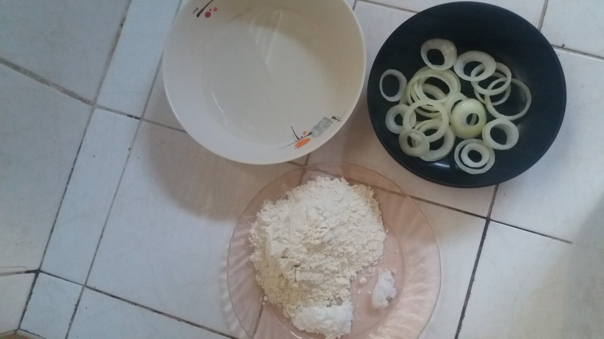 Ingredients for deep-fried onion rings