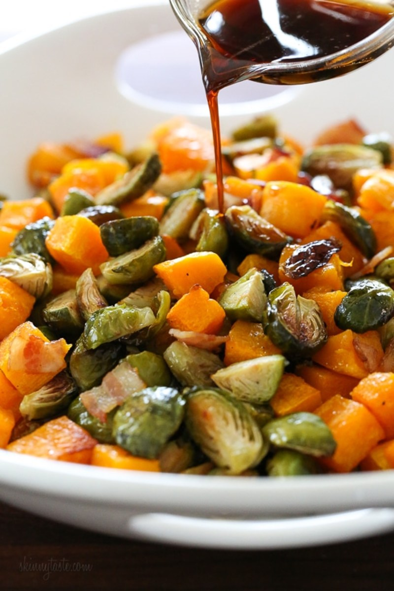 Maple-Soy Glazed Brussels Sprouts and Butternut Squash