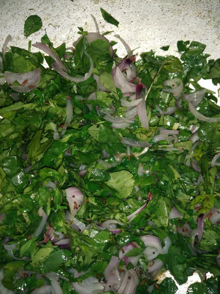 Add finely chopped fenugreek leaves. Mix well.