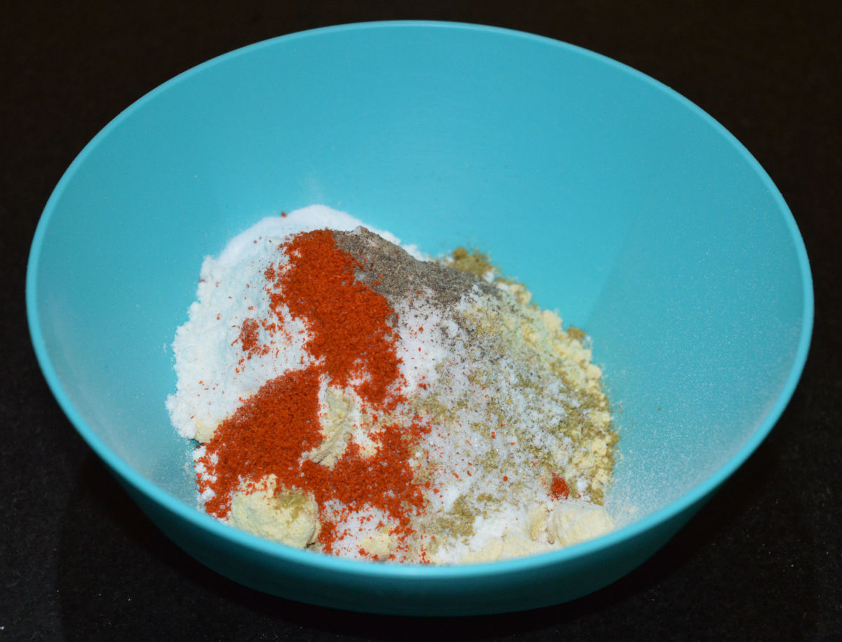 Step two: Add all the ingredients as per list to a mixing bowl. Prepare a moderately thin batter by adding enough water.