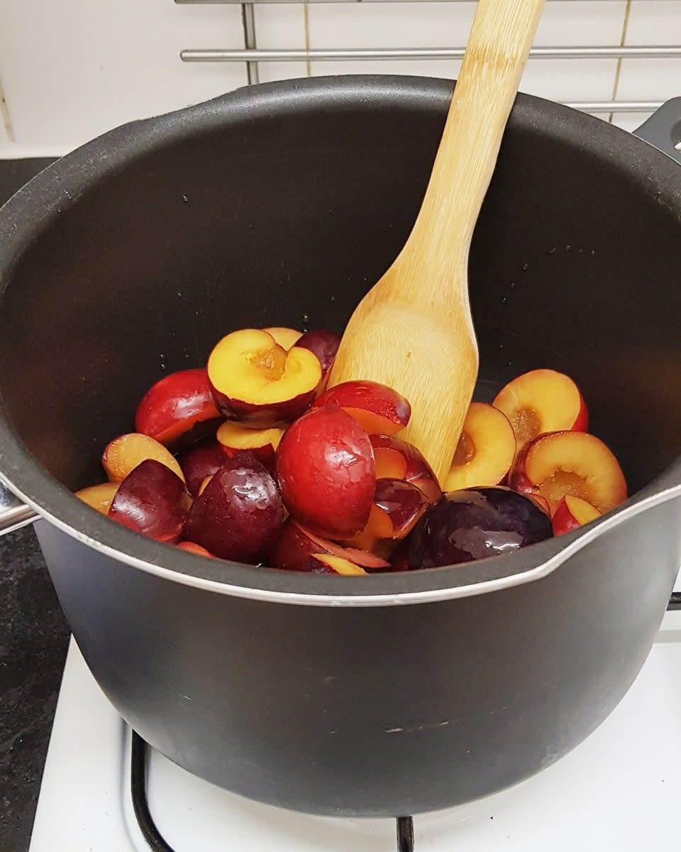 The plums in the pan before they had started to soften and break down.