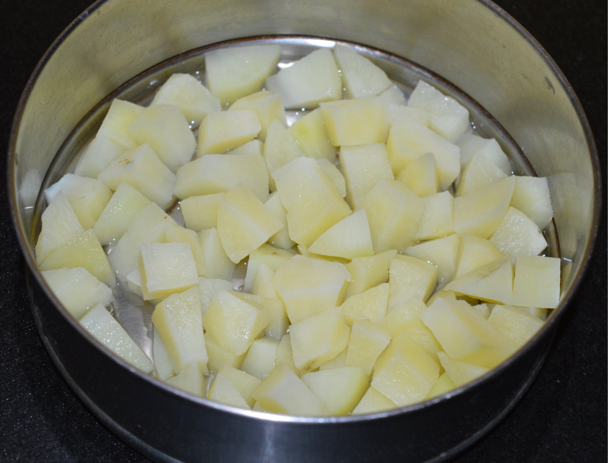 Step one: Boil potato cubes as per instructions.