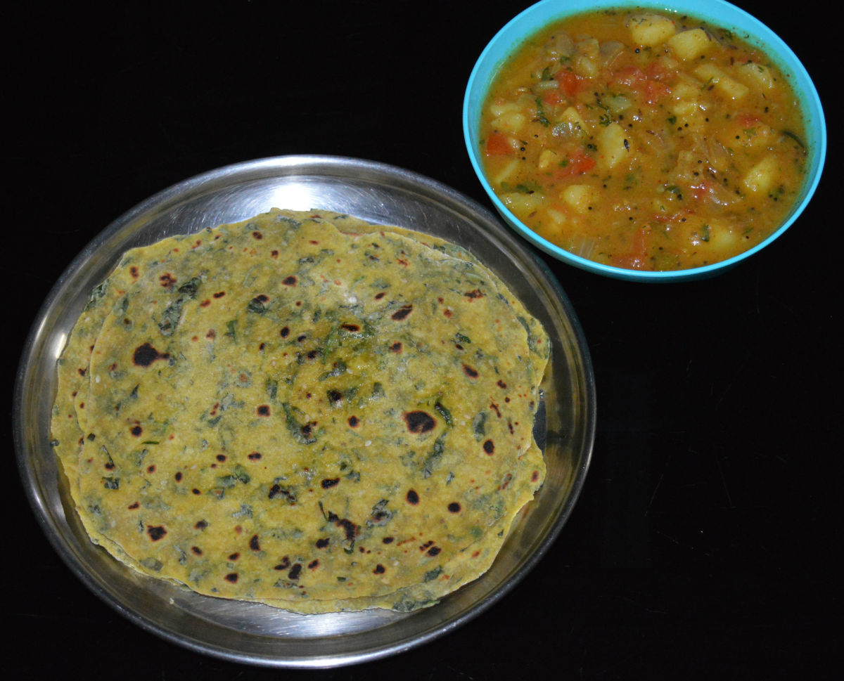 I served my potato curry with Fenugreek Leaf Thepla.