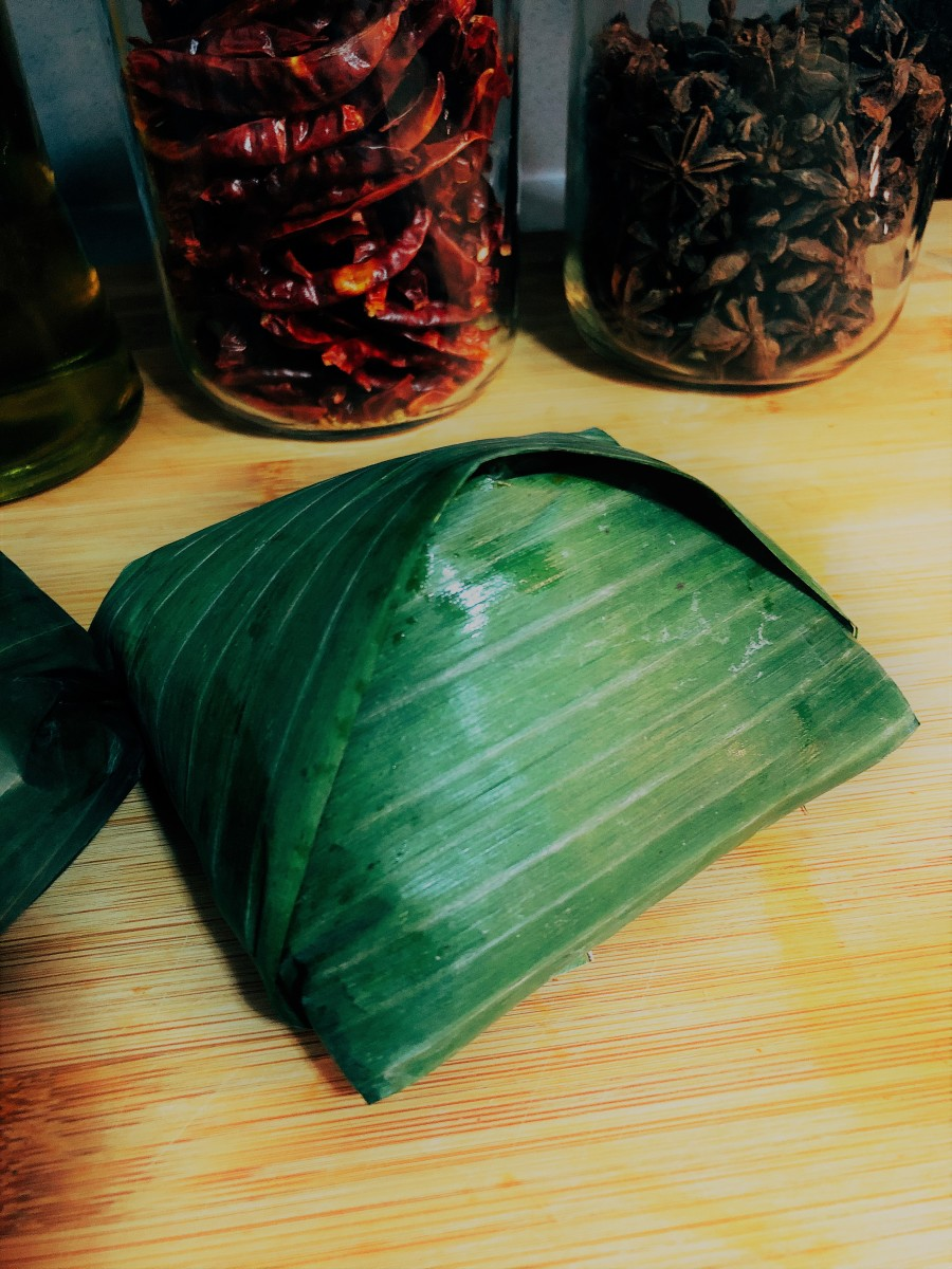 Banana leave are used to wrap nasi lemak.