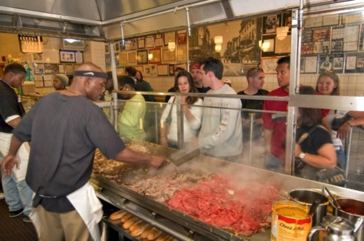 people in line ordering Philly Cheesesteak