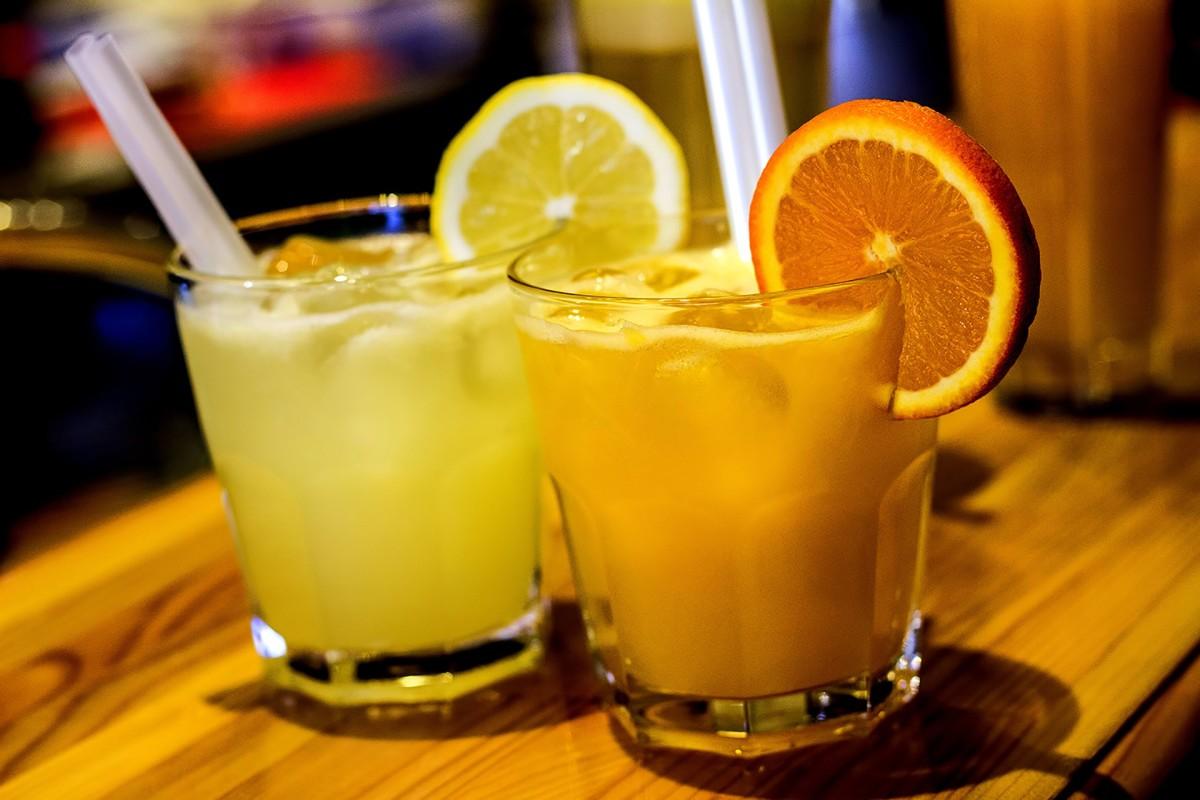 bar drink with citrus garnish