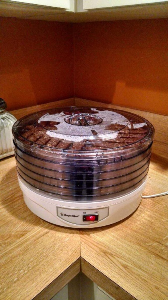 dehydrator with the jerky in it