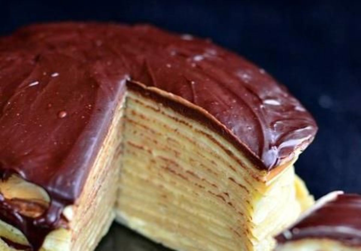 Boston cream pie crepe cake