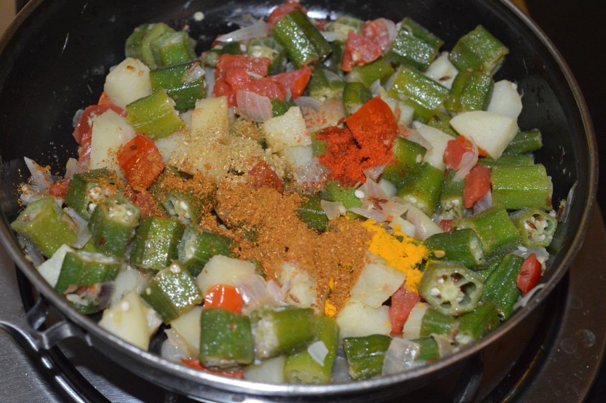 Step five: Throw in all the spice powders and the ground spice mix. Give it a good mix.