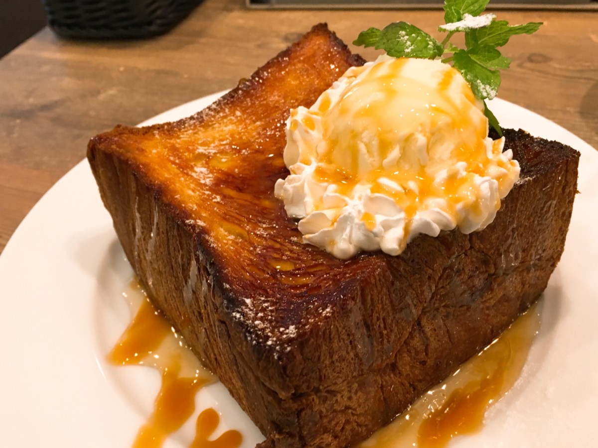 Honey toast using a Danish pastry loaf in a cafe
