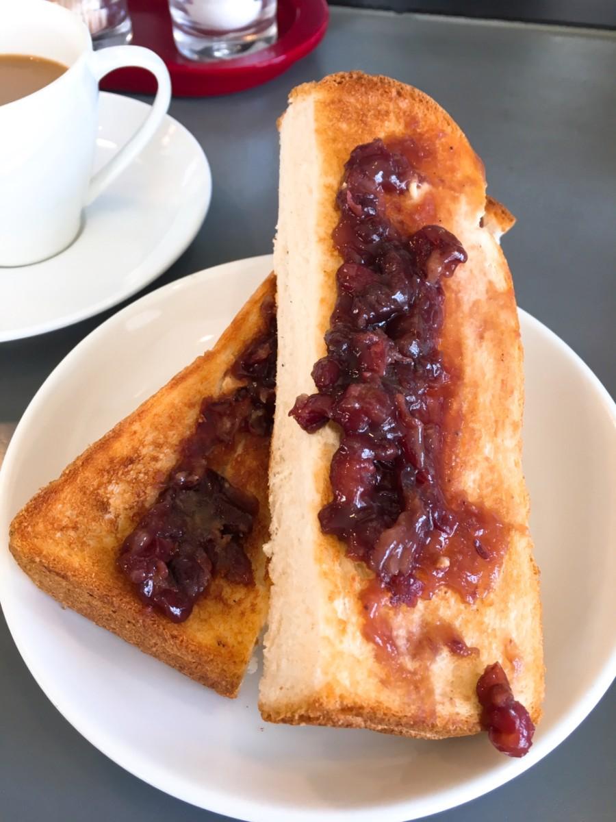 Red bean paste toast in a kissaten