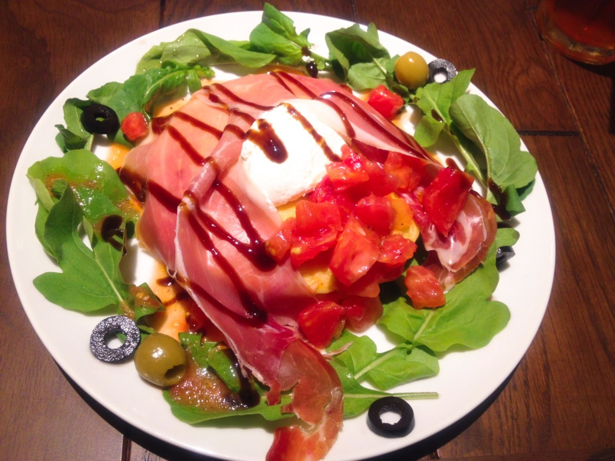 Prociutto salad savoury pancake