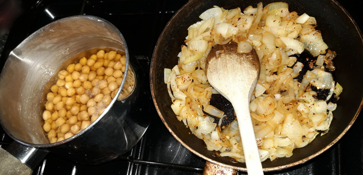 Chickpeas soaking and onions frying gently to caramelise them