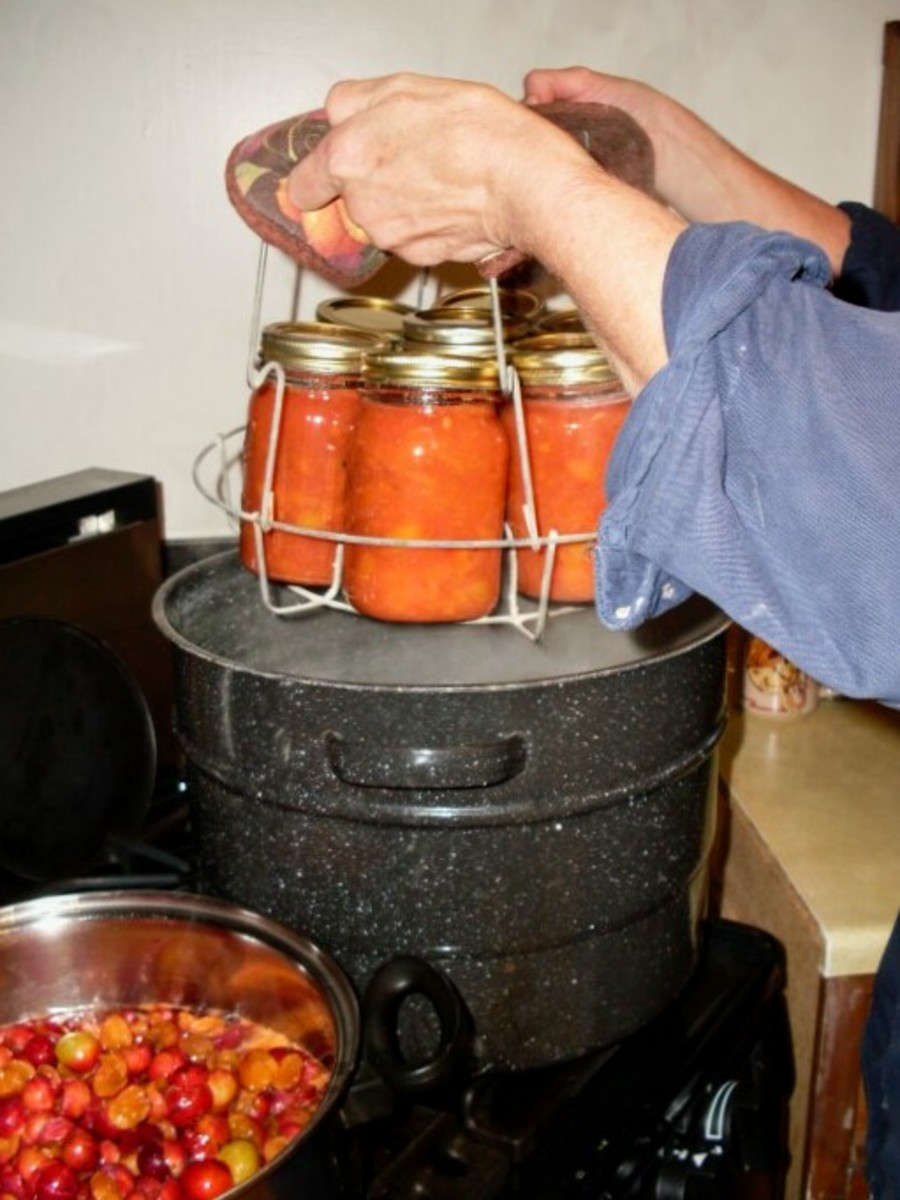 Lift rack into canner, being careful of steam burns or boiling water splashes.
