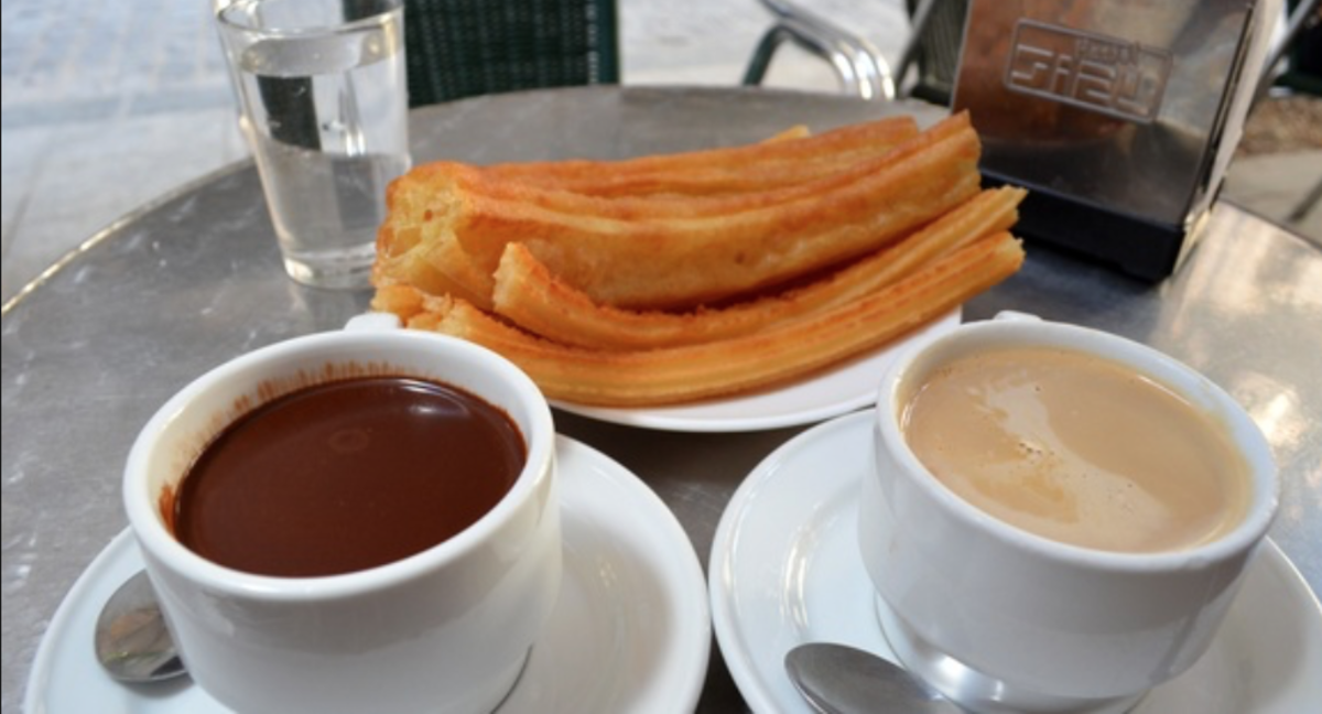A sample of churros and chocolate in El Café San Gines.