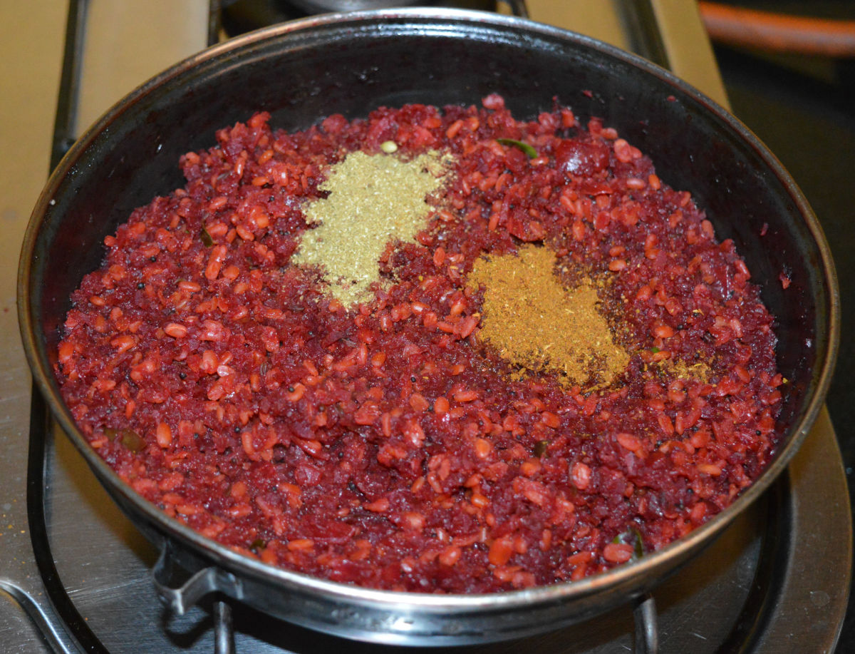 Step four: Add all the spice powders and remaining salt. By now, the mixture should be thick.