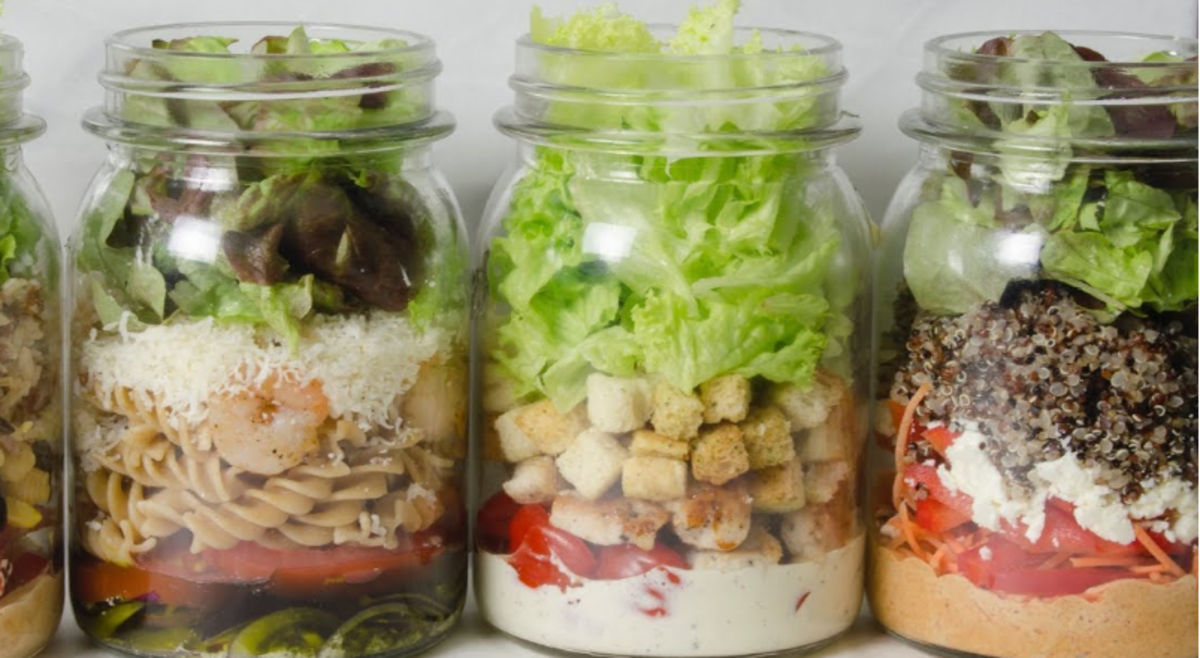 Different salads in mason jars