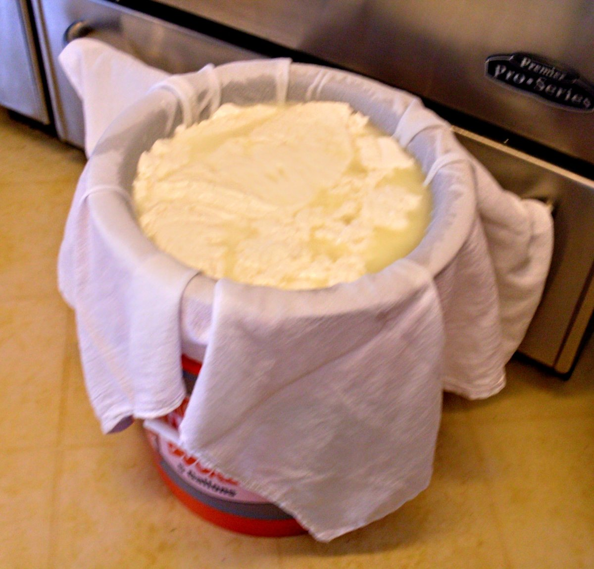 My cheese press will handle up to 2 small stock pots of curds at a time, or almost 4 gallons of milk total.