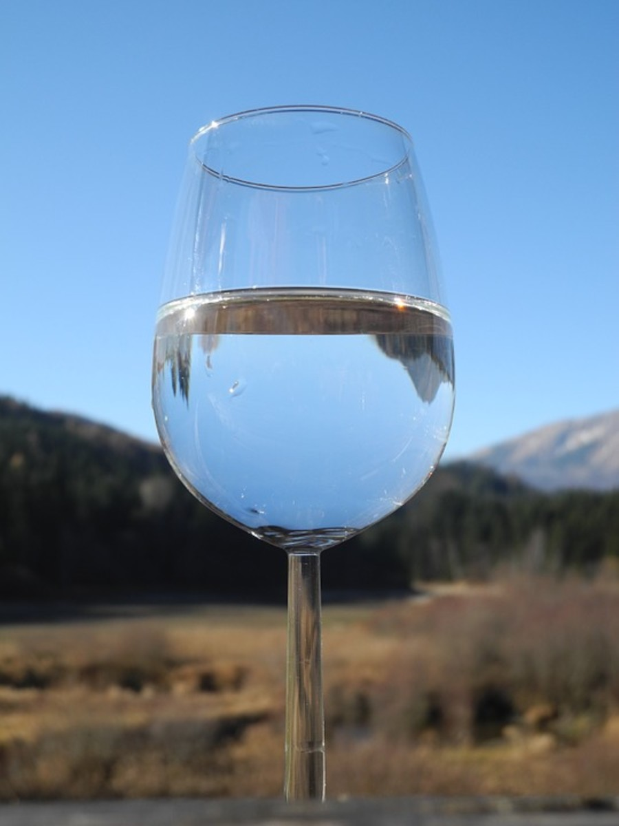 A close-up on a glass of water in a wine glass