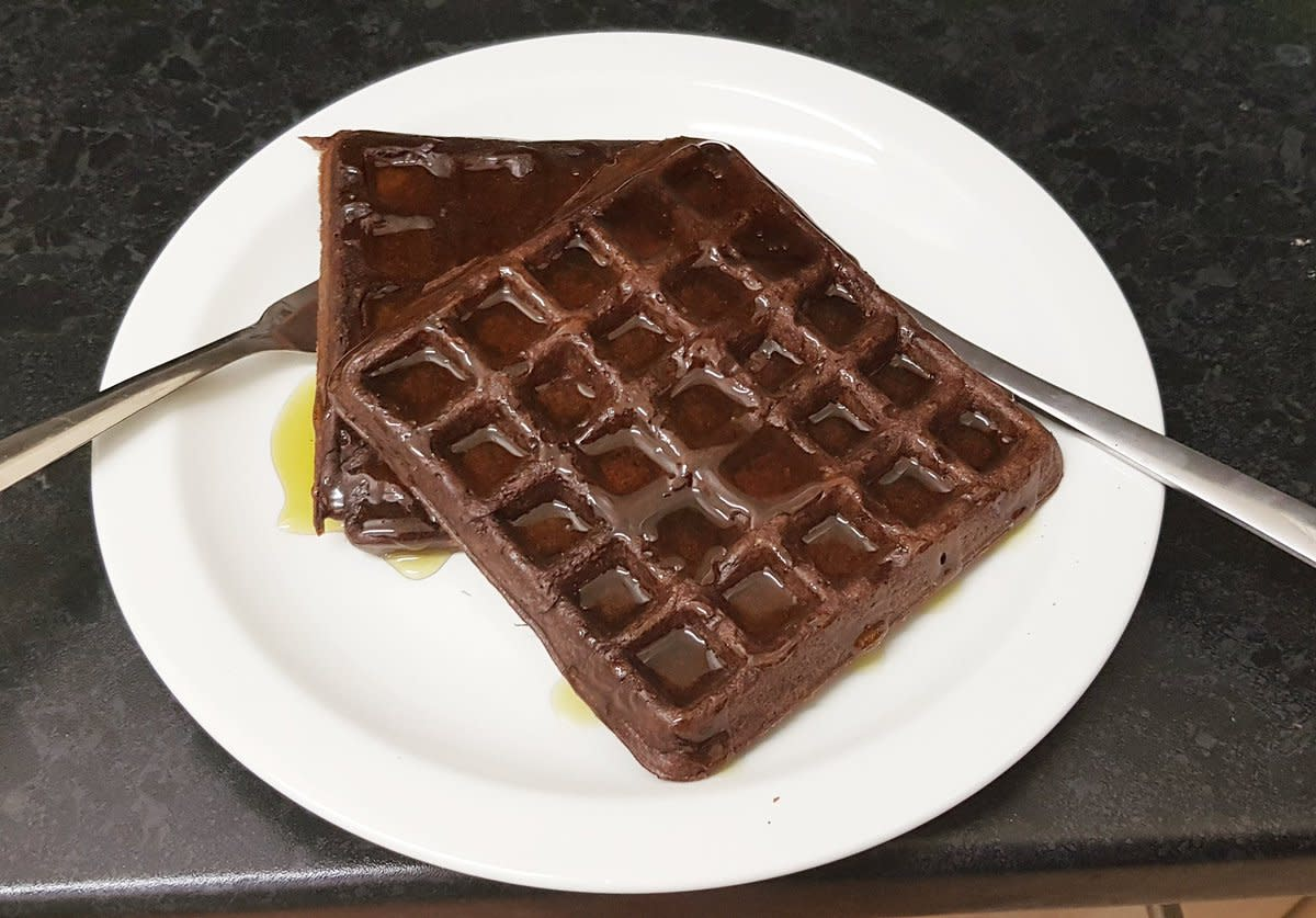 Chocolate waffles served with lots of golden syrup, just the way I like!