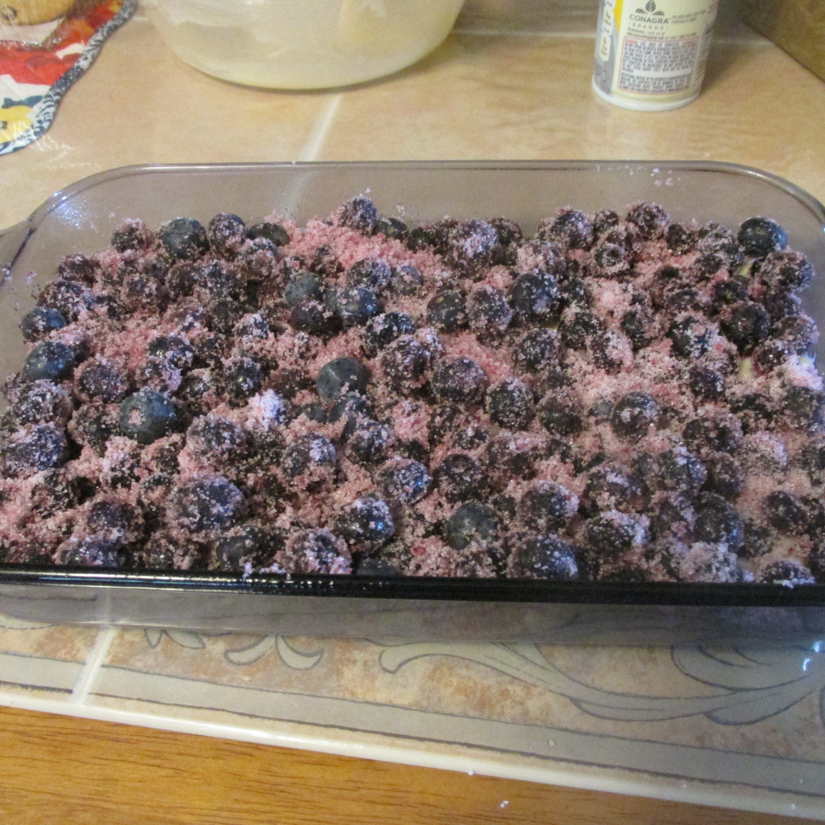 Layer the blueberries on top of the batter.