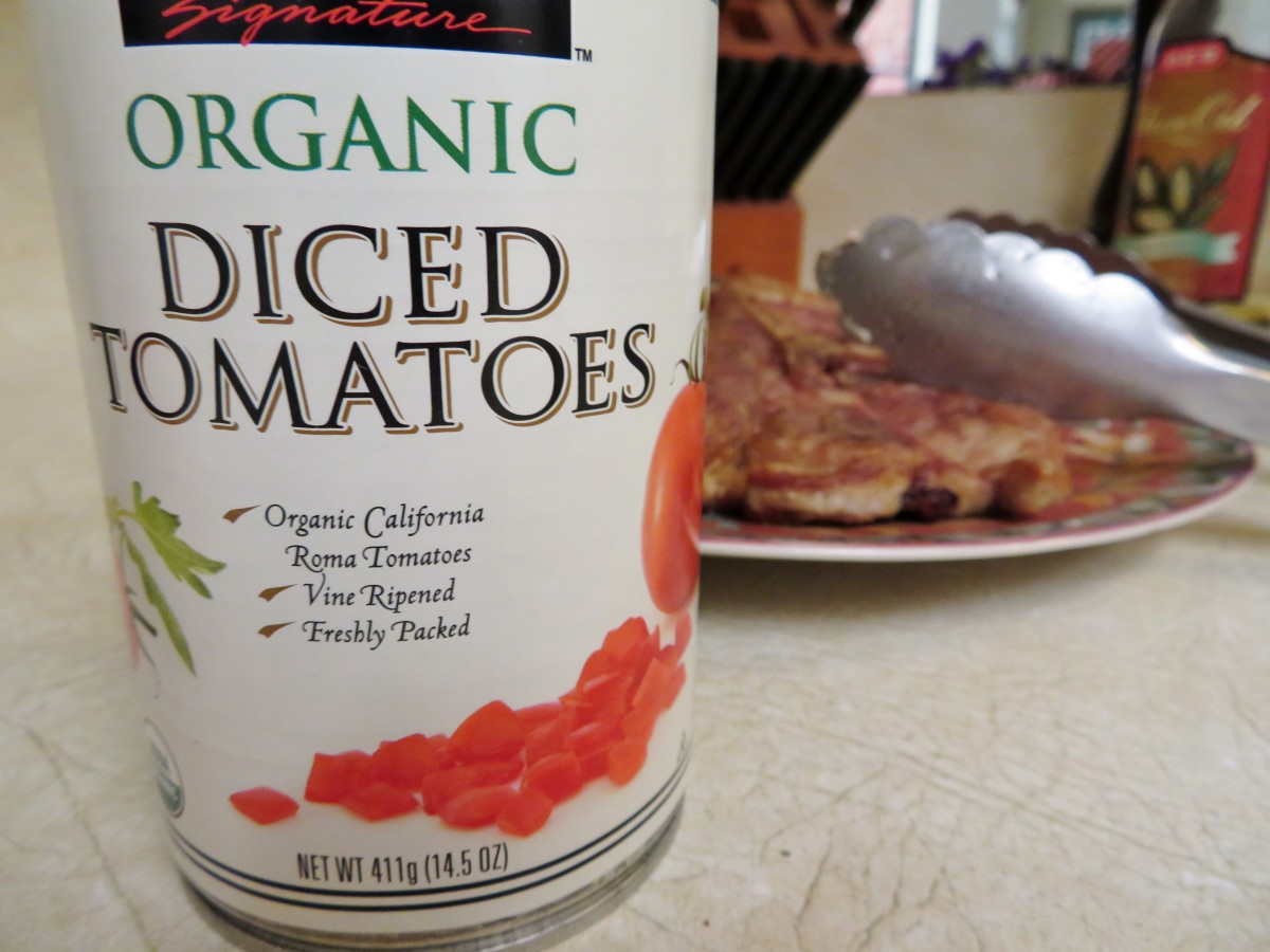 One of two 14 1/2 ounce cans of diced tomatoes used in this recipe
