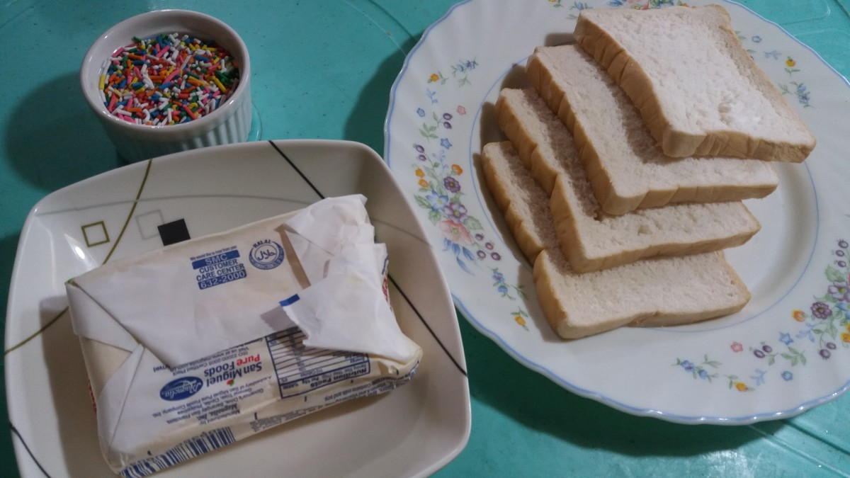 "Buttered white bread with ""hundreds and thousands"" (sprinkles)"