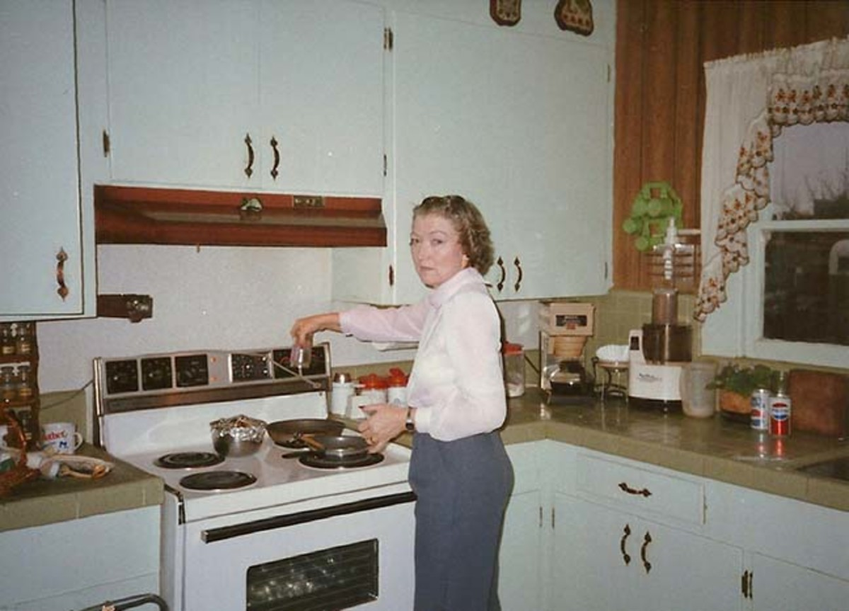 My mother in the kitchen.