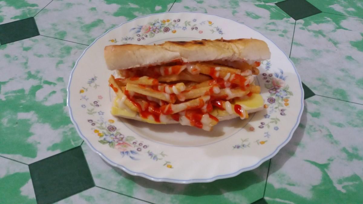 Turkish sandwich stuffed with fries.