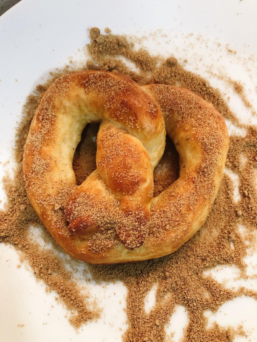 Sprinkle with cinnamon brown sugar mixture.