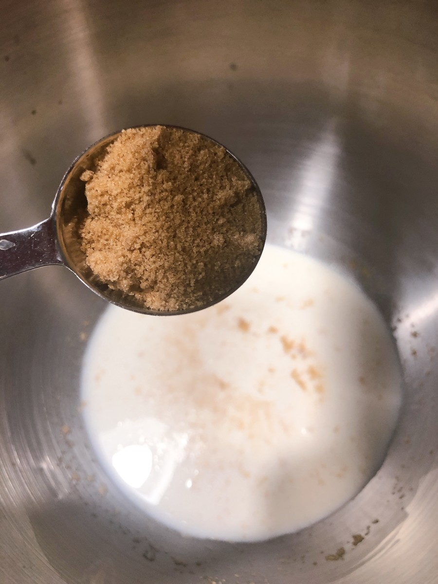 Combine the brown sugar into the yeast mixture.