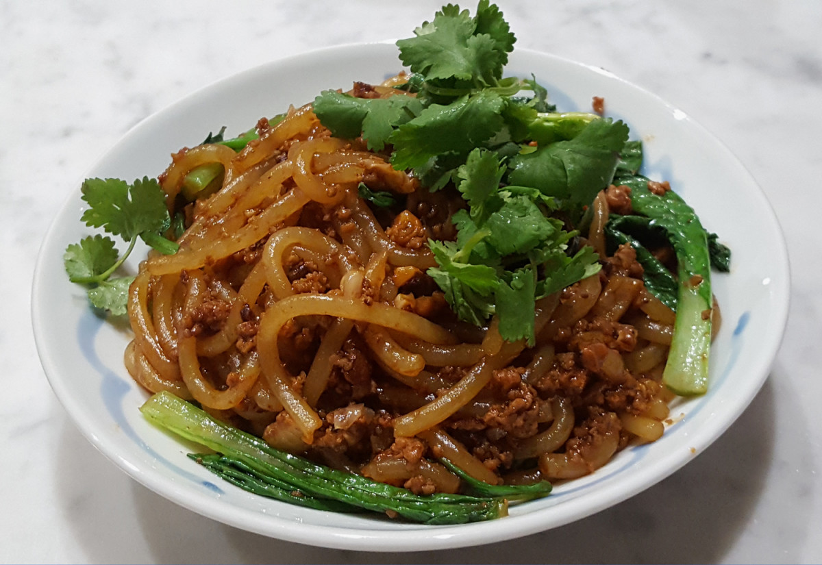 """Fat Rice Starch noodles tossed with dongcai minced pork and shitake mushroom sauce: a sort of Asian """"spag bol""""!"""