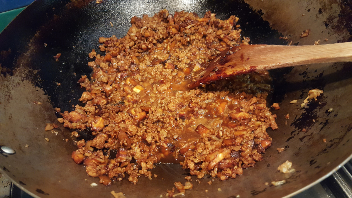 Just enough liquid is added to the meat mixture to create a small amount of sauce.