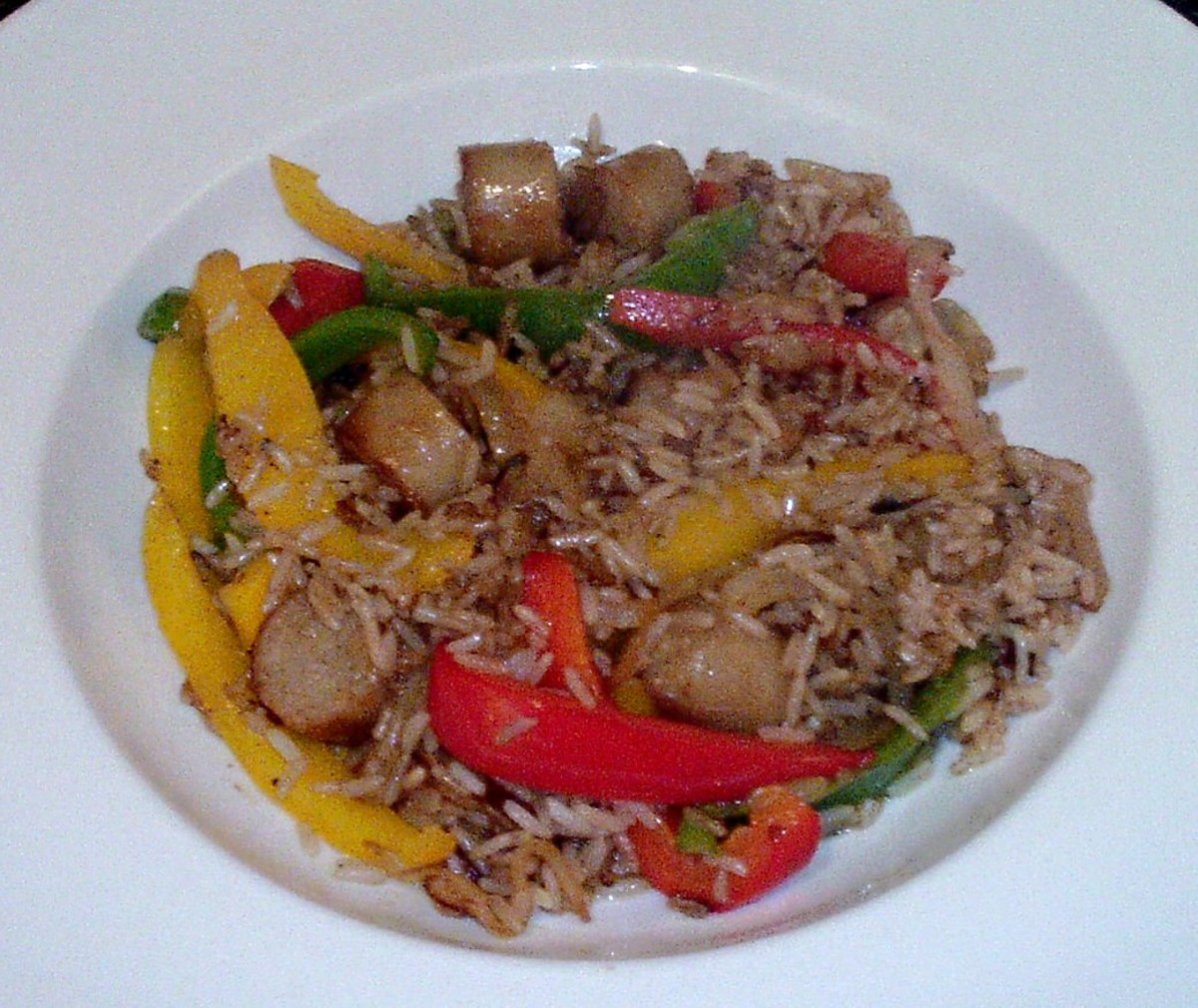 Chicken sausages and mixed peppers fried rice