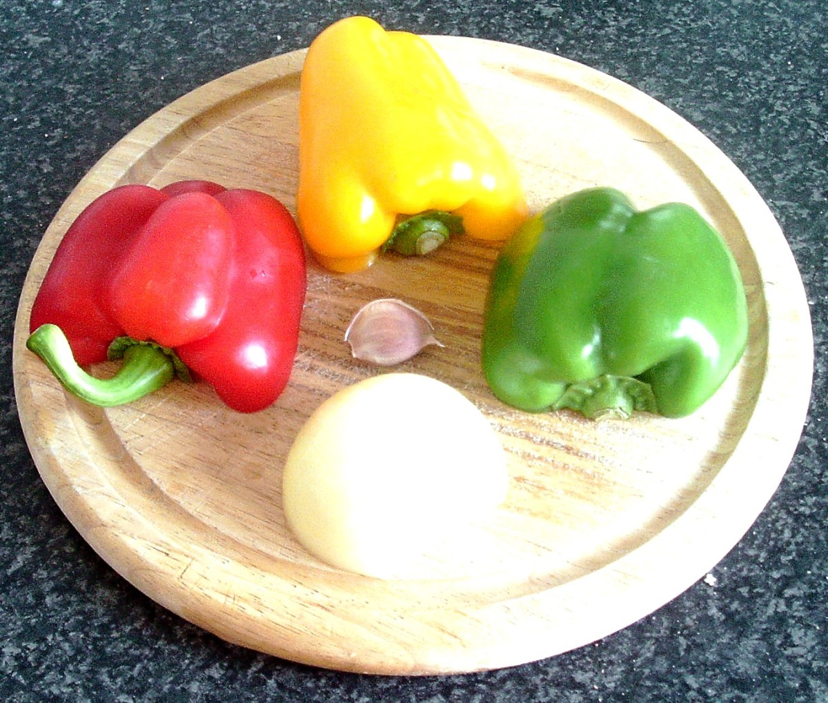 Peppers, onion and garlic