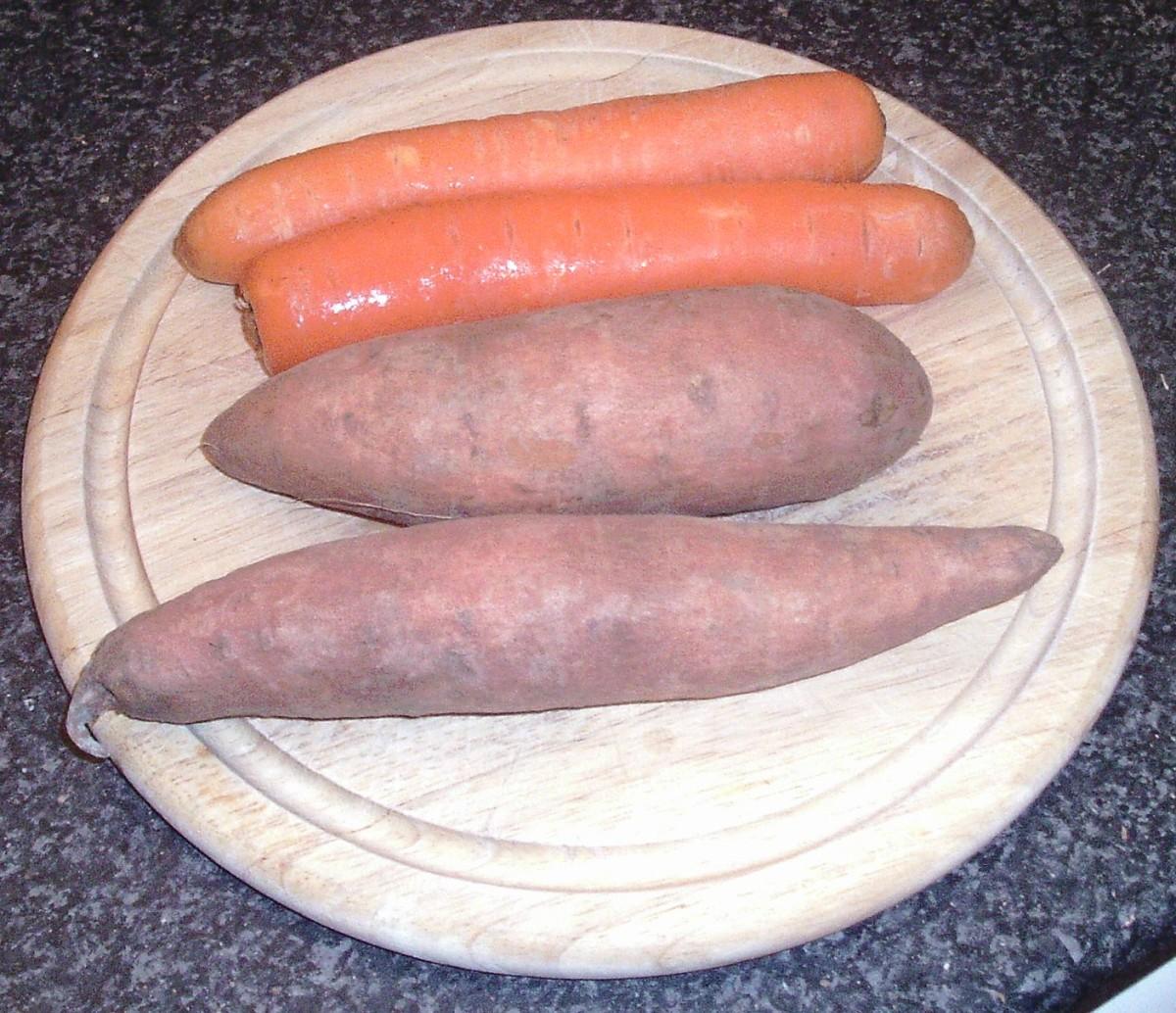 Sweet potatoes and carrots