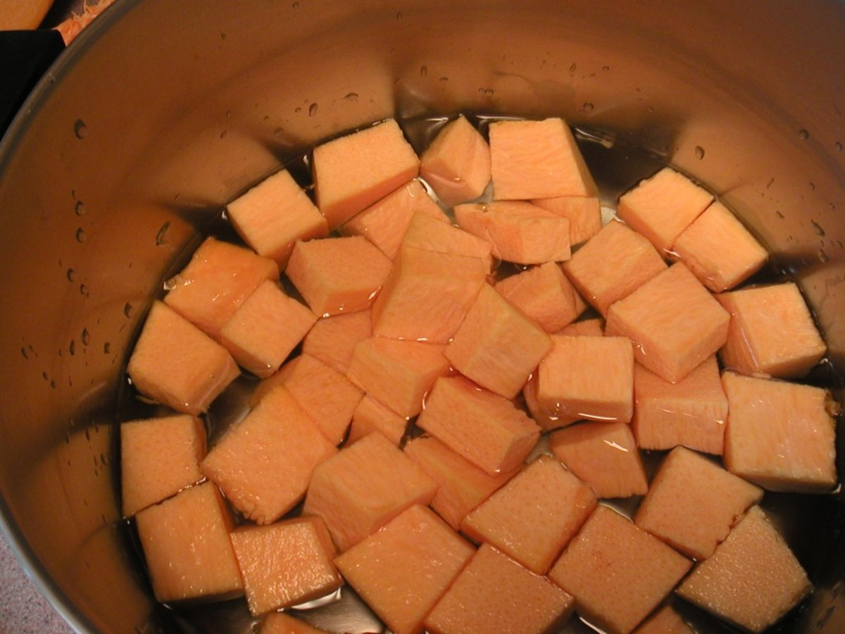 Continue to cut the remaining slices into cubes.