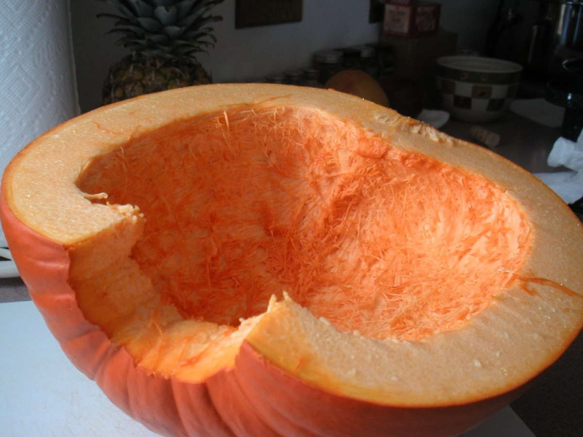 Pumpkin in half with pulp removed.