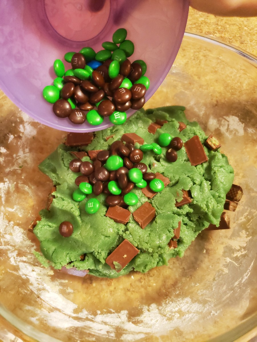 Pour M&M's into your mixing bowl.
