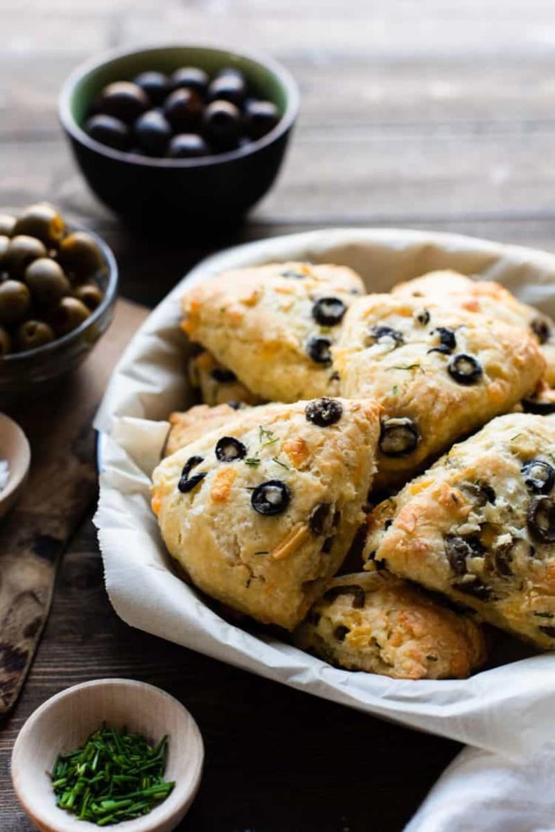 Savory olive cheese scones