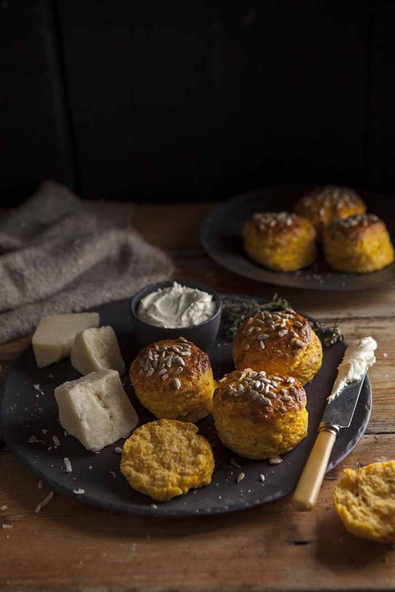 Easy pumpkin and parmesan scones with thyme