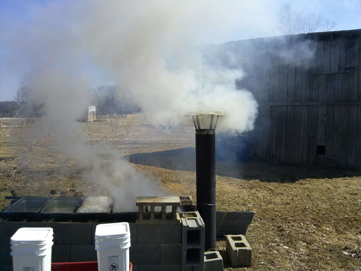 Our outdoor evaporator smoking and steaming away.