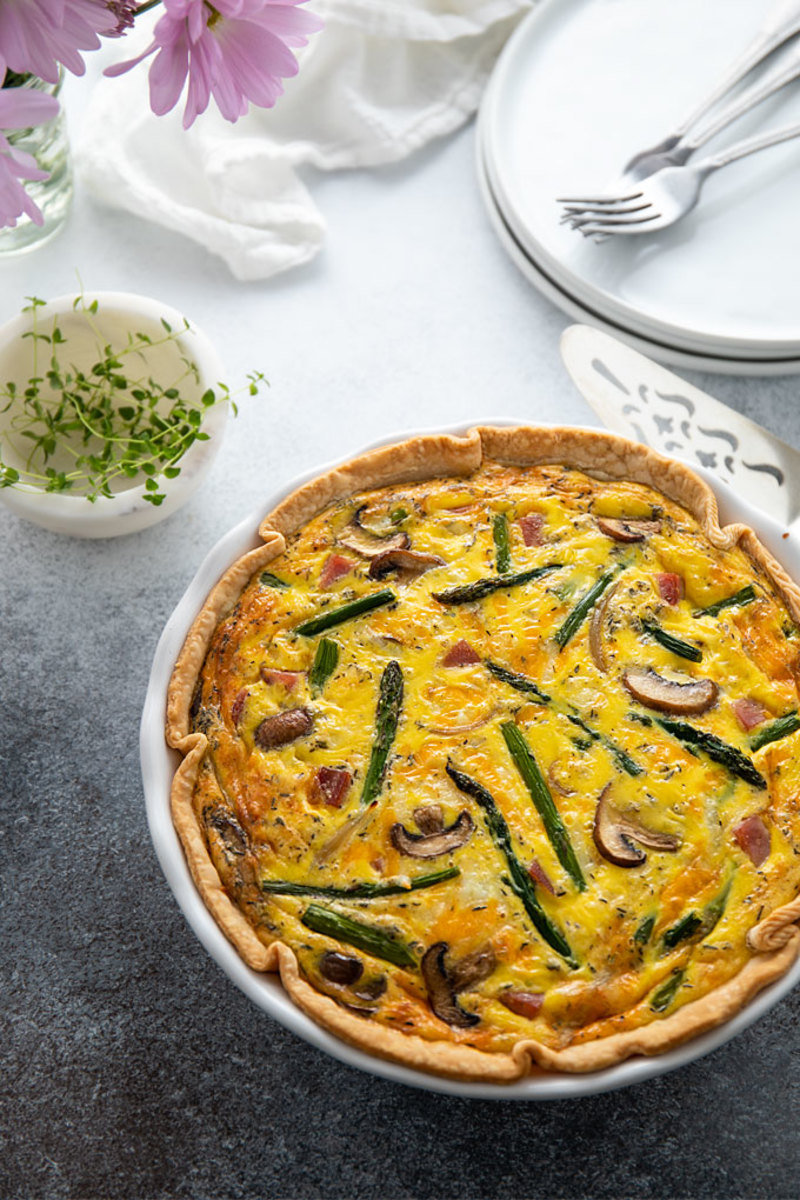 Ham, Asparagus, and Mushroom Quiche with Cheddar