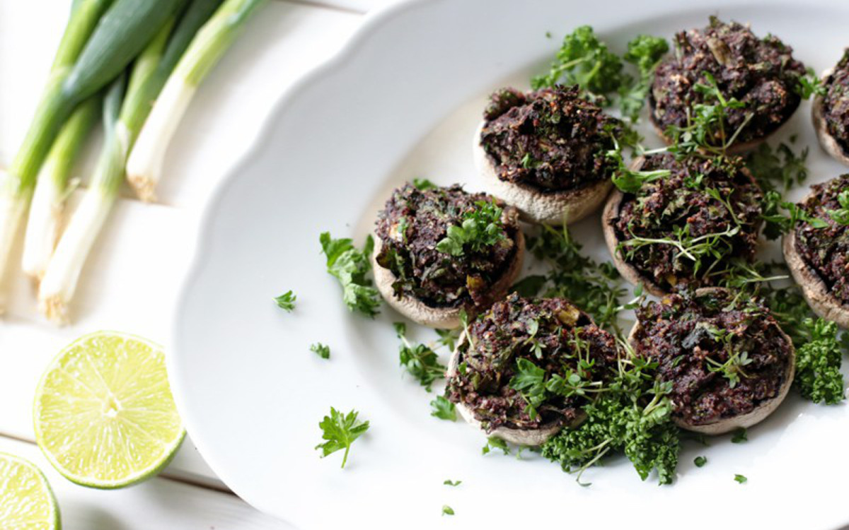 Pesto and Olive-Stuffed Mushrooms