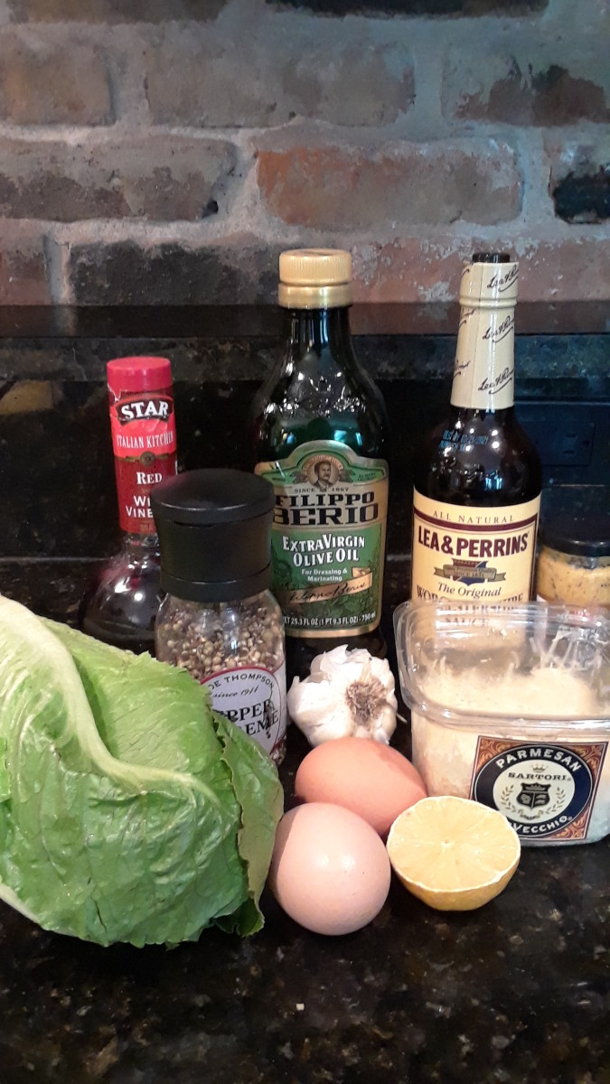 Some of the ingredients for a Caesar salad